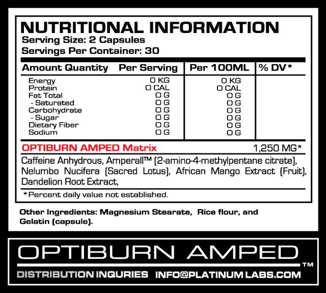 optiburn amped platinum labs capsules: Отзывы и инструкция по применению